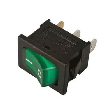 Green Illuminated 12V On/Off Rocker Switch 13mm x 19mm (N85JZ) AB-RS-007